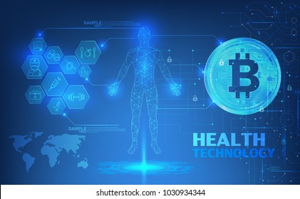Abstract health technology web banner with golden bitcoin and dark blue background with circuits and wheel. Vector illustration.; digital blueprint of human; 3D body part of human,icons health vector