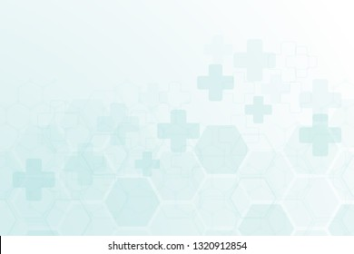 Abstract healthy, cross and medical background. Technology and science wallpaper template with hexagonal shape.Medical banner template with space for text. Business vector illustration.