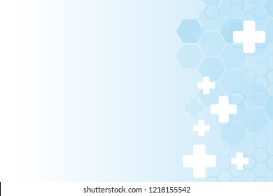 Abstract healthy and medical background. Technology and science wallpaper template with hexagonal shape. Soft blue color. Business vector illustration