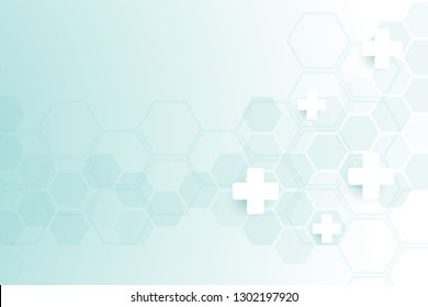 Abstract healthy and medical background. Technology and science wallpaper template with hexagonal shape. Soft blue color medical banner template with space for text. Business vector illustration