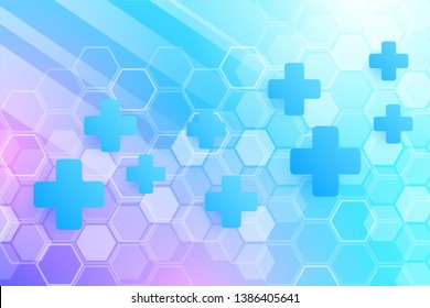 Abstract healthy and medical background. Technology and science wallpaper template with hexagonal shape. Soft blue color medical banner template with space for text. Business vector illustration.
