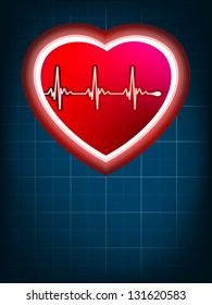 Abstract heart beats cardiogram on blue. EPS 8 vector file included