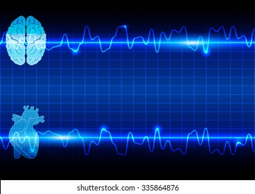 abstract heart and brain on Healthcare and Medical background