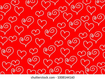 Abstract heart doodle on red background.