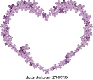 Abstract heart of flowers of lilac. Postcard.