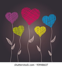 Abstract heart flowers, vector background