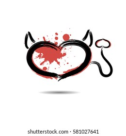 Abstract heart in the form of devil hand-drawn with blots paint. Isolated on a white background. Vector illustration