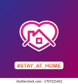 Abstract heart and house silhouettes with stay at home text for social networks