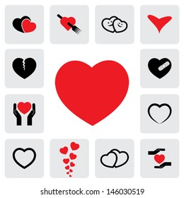 abstract heart icons ( signs ) for love, happiness- vector graphic. This love icon represents concepts of passion, platonic love, break-up, healing & protection of heart's health, prevention
