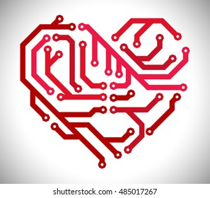 Abstract heart look like circuit board