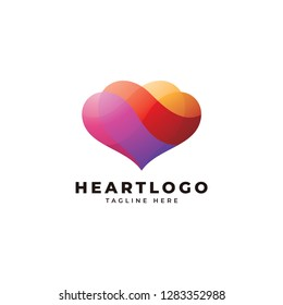 Abstract heart love logo icon with vibrant overlapping coloring style