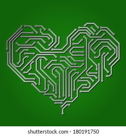 Abstract heart made from circuit board