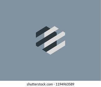 Abstract heart mechanism logo. Geometric construction device vector logotype.