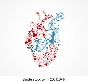 Abstract heart molecular shape illustration, scientific design.