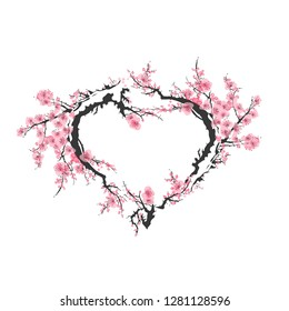 Abstract heart of realistic sakura blossom - Japanese cherry tree isolated on white background.