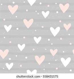 Abstract heart seamless pattern background. Hand drawn geometric heart isolated on grey for card, invitation, album, sketch book, scrapbook, holiday wrapping paper, textile fabric, garment etc