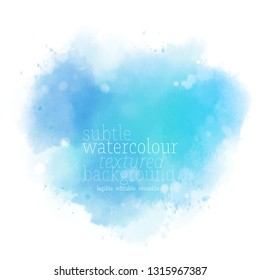 abstract heart shape water color splash. soft blue stain with splatters and spots on white background. eps 8
