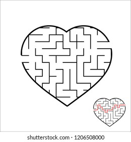 Abstract heart shaped labyrinth. Game for kids. Puzzle for children. One entrances, one exit. Maze conundrum. Simple flat vector illustration isolated on white background. With the answer.