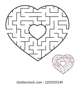 Abstract heart shaped labyrinth. Game for kids and adults. Puzzle for children. Labyrinth conundrum. Flat vector illustration isolated on white background. Love search concept. With answer