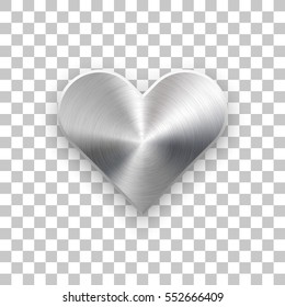 Abstract heart sign badge, Valentines day button template with brushed texture, chrome, silver, steel, realistic shadow and transparent background for web, apps. Vector illustration.