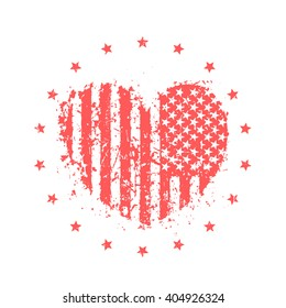 abstract heart with usa flag, american patriotic sign, t-shirt print on white, vector illustration