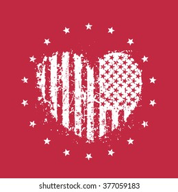 abstract heart with usa flag, patriotic sign, t-shirt print, vector illustration