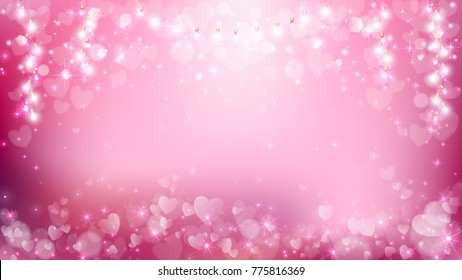 Abstract heart valentines background contains heart flare and light string such as soft pink,white and pastel style,empty area on middle.
