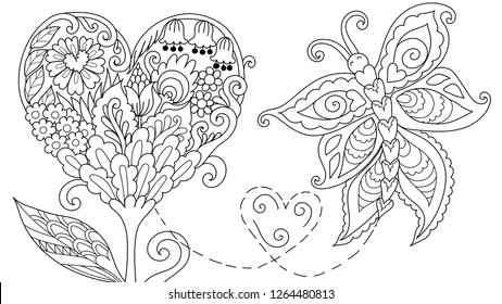 Abstract Hearted shape floral tree and leaf with flying butterfly for cards, web decoration, coloring book,coloring page,colouring picture. Vector illustration