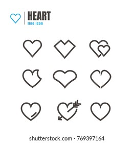 Abstract Hearth Icons set. on white background. web. logo. vector illustration
