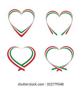 Abstract hearts with the colors of the Italian flag