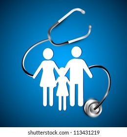 Abstract heath care background with white silhouette of a family under stethoscope. EPS 10.