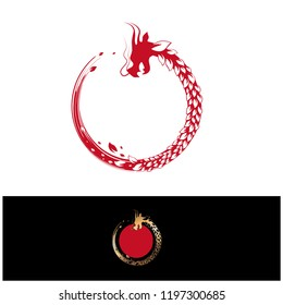 Abstract Herbal Leaf Round Chinese Dragon With Copyspace Can use also as logo