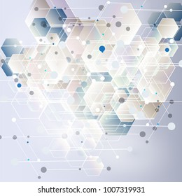 Abstract hexagon background. Technology polygonal design. Digital futuristic minimalism. Vector illutration.