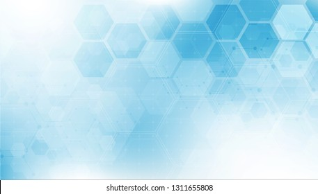 Abstract hexagon or digital technology background. Vector design for science, and medicine.