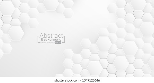 Abstract Hexagon Embossed, honeycomb white Background, light and shadow. Vector illustration.