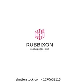 abstract hexagon geometric logo design with red color