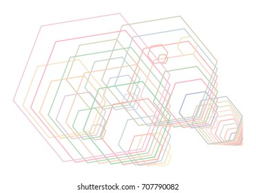 Abstract hexagon geometric pattern, colorful & artistic for graphic design, catalog, textile or texture printing & background. Vector illustration graphic.