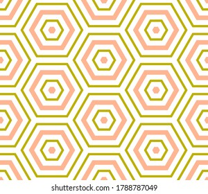 Abstract hexagon geometric seamless pattern. Mosaic background. Linear geo shape infinity backdrop. Polygon wrapping paper. Vector illustration.
