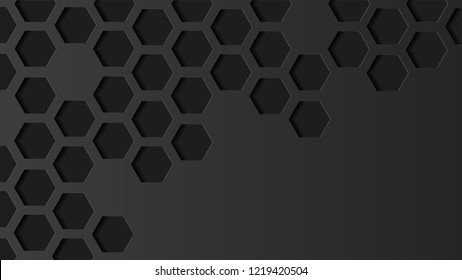 Abstract hexagon geometric vector black background