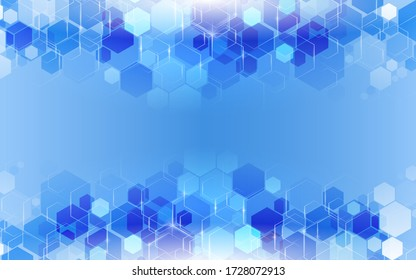 Abstract hexagon gradient shapes with blue background. Vector illustration in eps10.