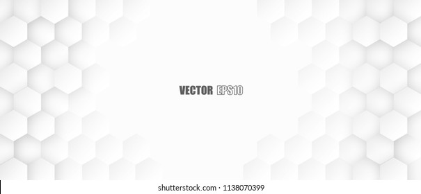 Abstract. Hexagon , honeycomb white Background ,light and shadow. copy space .Vector