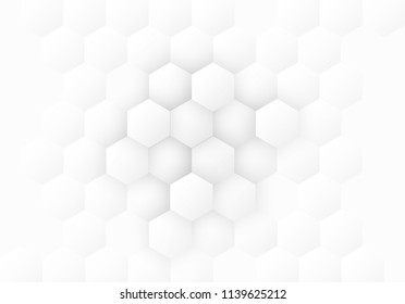 Abstract. Hexagon, honeycomb white Background. light and shadow. copy space. Vector