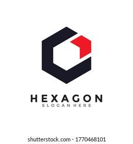 Abstract hexagon logo vector. Cube logo. Creative geometric logo design concept.