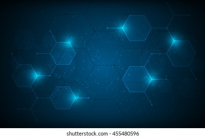 abstract hexagon pattern molecular sci fi scientific design tech innovation concept background