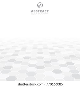Abstract hexagon perspective pattern white and gray color background. Vector illustration