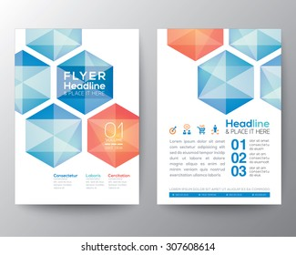 Abstract hexagon Poster Brochure Flyer design Layout vector template in A4 size