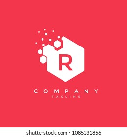 Abstract hexagon R letter logo