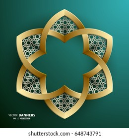 Abstract hexagon shape with golden ribbons