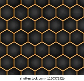 Abstract Hexagon structure Dark geometric seamless pattern