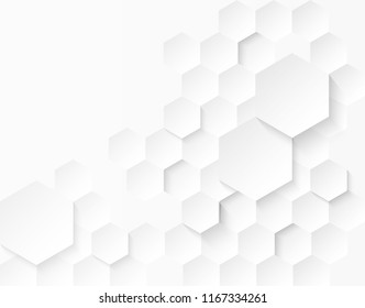 Abstract  Hexagon . white background ,light and shadow. Vector
